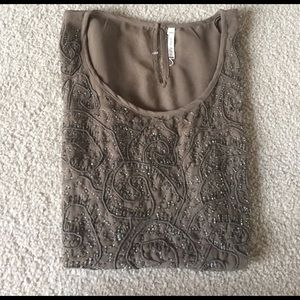 Willow & Clay Tops - Willow and clay brown beaded shirt