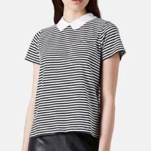 Topshop Tops - Topshop striped Peter Pan collar shirt. Never worn