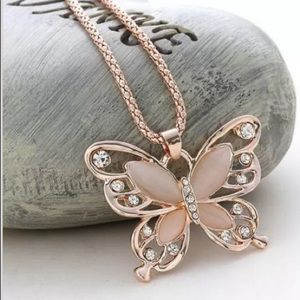 Accessory Collective Jewelry - Butterfly Pendant and Necklace in Rose Gold