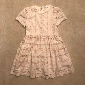 Cream eyelet babydoll dress