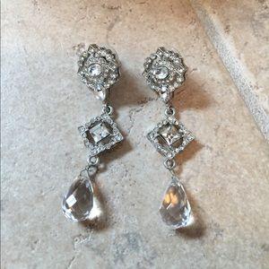 Monet Jewelry - Crystal and Diamond chandelier earrings