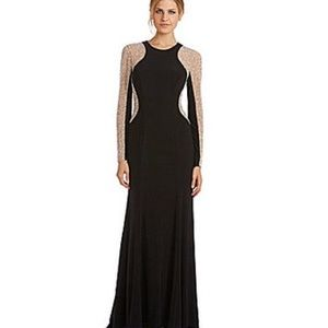 Xscape Dresses & Skirts - Xscape Long-Sleeved Studded Color Blocked Gown