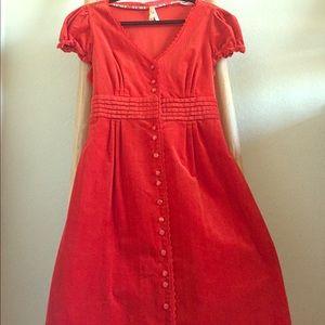 力Anthropologie Maeve Orange Corduroy Dress (12)