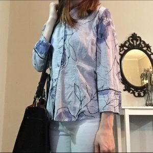 Coldwater Creek Tops - Lovely blue flower striped button down