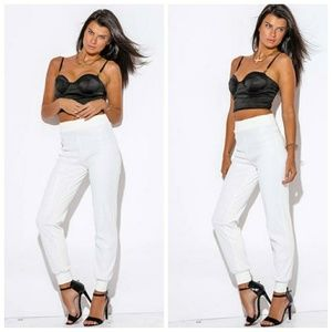 Pants - Ivory White Sequin Skinny