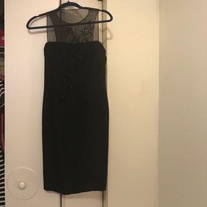 [Tootsies] Black dress with mesh and beading