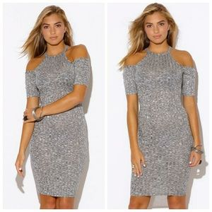 Dresses & Skirts - Gray sweater dress with cut out shoulders.