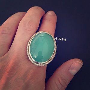 David Yurman Jewelry - David Yurman Xtra Lg Diamond Aqua Chalcedony Ring