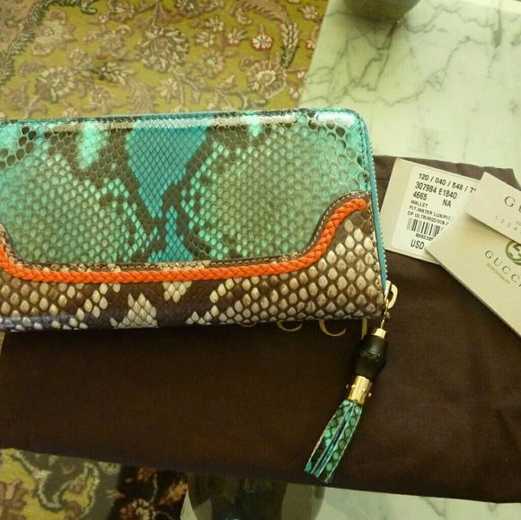 b751d753e787 Gucci Bags | Python Bamboo Tassel Wallet Teal Orange Nwt | Poshmark