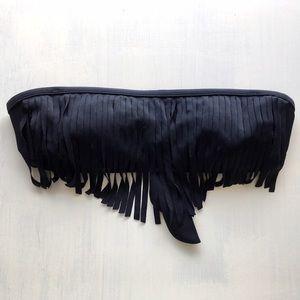 Fringe Bandeau Strapless Bikini Top w/ Padding