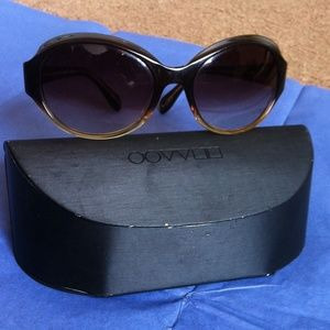 Oliver Peoples Accessories - Oliver Peoples Brown and Tan Sunglasses with Case