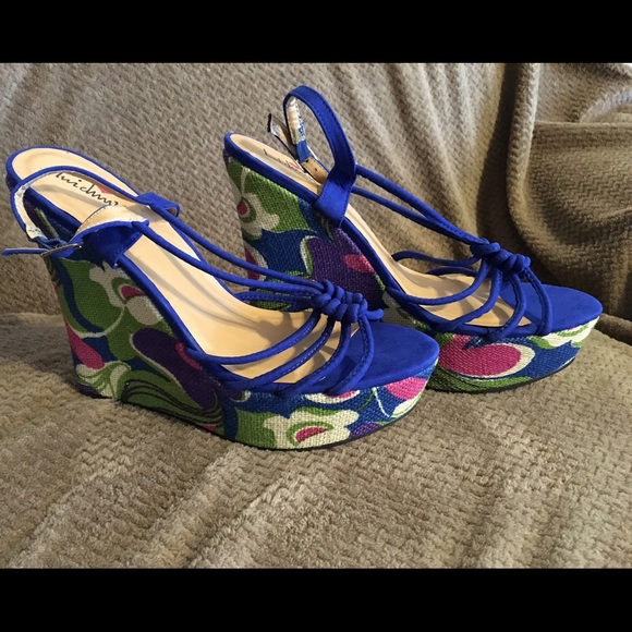 Royal Blue Wedge Strapped Sandals