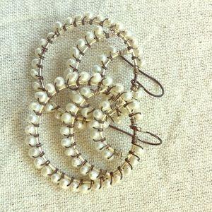 Jewelry - Vintage Pearl Hoop Earrings
