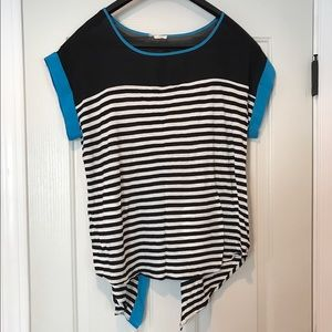 Mine Too Tops - Striped Top with Sheer Accent and Envelope Back
