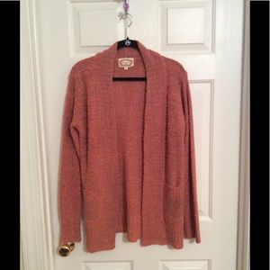 Ambiance Apparel Sweaters - Ambiance Coral Long Pocketed Cardigan