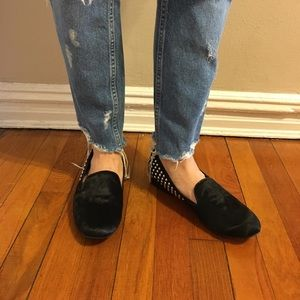 Black Kelsi Dagger Calf Hair Studded Loafers