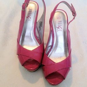Rouge Helium Hot Pink Satin & Cork Wedge Heels