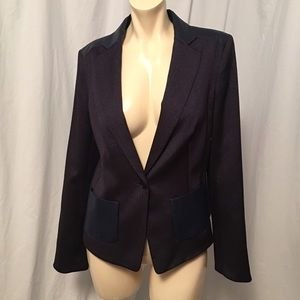 Anne Klein Jackets & Blazers - Anne Klein navy denim and faux leather blazer