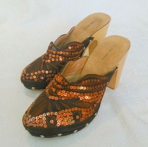 TOP MODA Brown Copper Sequined Chunky Heel Mules