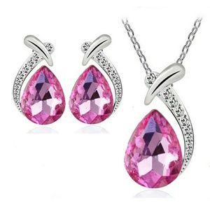 Jewelry - 10$ sale! PINK crystal rhinestone Sterling 925 set