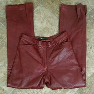 Dkny Genuine Leather Pants Womens Brick Red