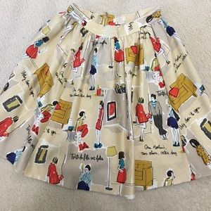 Kate Spade skirt with garance dore illustration