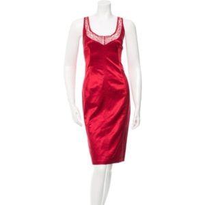 D&G Dresses & Skirts - D&G Red Lace-front Satin Sheath Dress