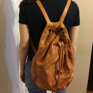Topshop Tan Leather Perforated Vintage Backpack