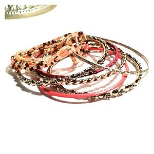 Jewelry - Gold/Orange Bangle and Bead Bracelet Set