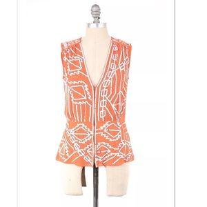 Nanette Lepore Tops - Nanette Lepore orange silk beaded boho vest