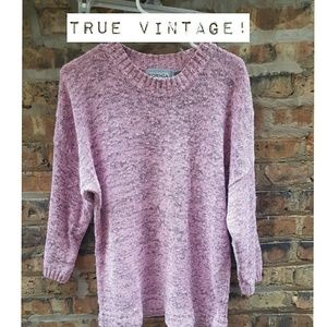 True vintage sweater, black and pink heather