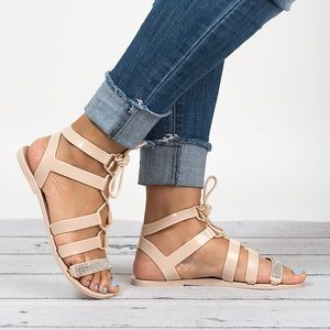 👠 Nude Lace Up Gladiator Jelly Sandals