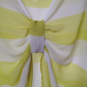 flowy sheer yellow striped bow back  top