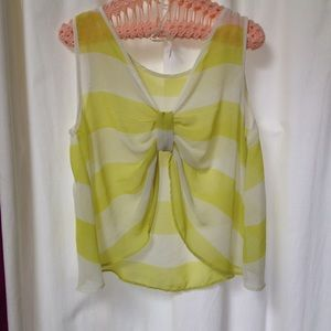 flowy sheer yellow striped bow back  top