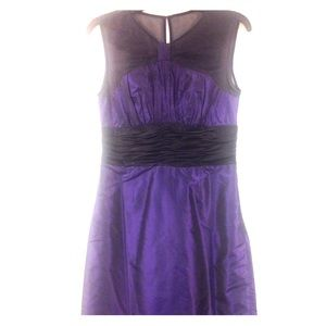 100% silk dress violet blue with black accent