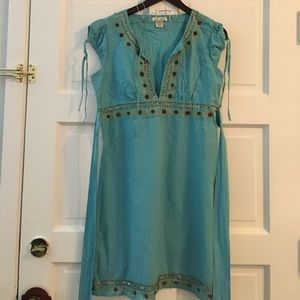 At Last Dresses & Skirts - At Last Beaded Blue Cover Up/Dress