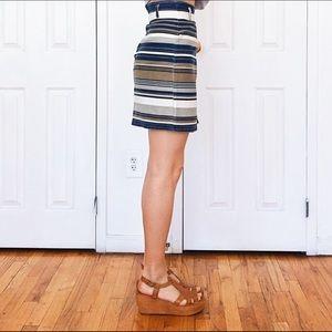 Skirts - Vintage high waisted denim striped wrap skirt