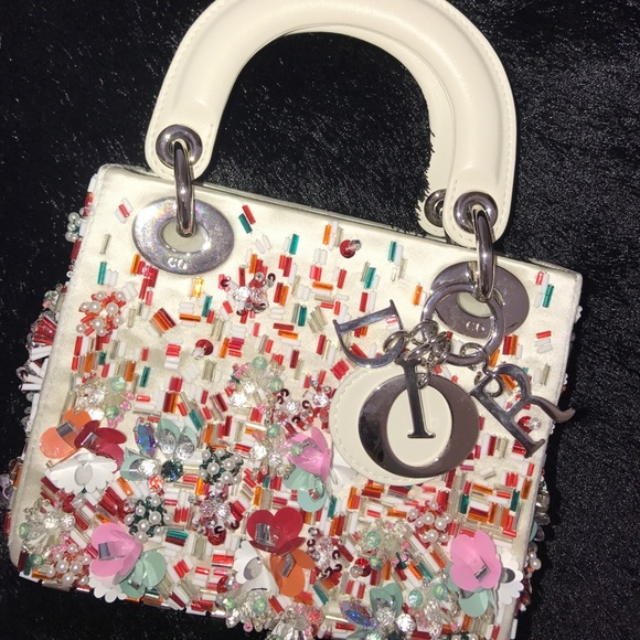 Christian Dior Bags Lady Dior Satin Hand Embroidered Bag With