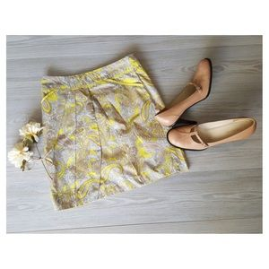 H & M Paisley Skirt Pleated Yellow & Taupe
