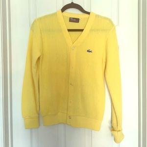 Vintage Lacoste yellow cardigan XS