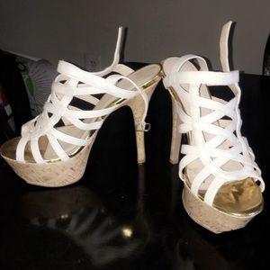 shoedazzle Shoes - White strappy pumps