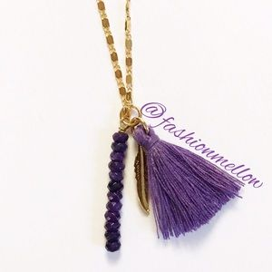 Function & Fringe Jewelry - Faceted Purple Jade and Tassel Necklace