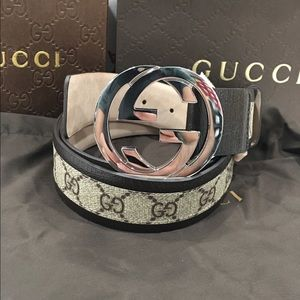 Gucci Other - 🔥 Authentic Men Gucci Belt Brown Trim Monogram GG