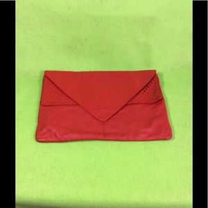 Red Leather Envelope Handbag