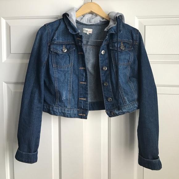 6e3297009dc Ci Sono Jackets & Coats | Cropped Denim Jacket With Hood | Poshmark