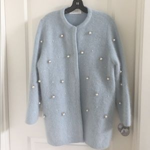 Jackets & Blazers - NWOT Sweater Coat with Pearl embellishments