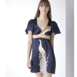 Voom by Joy Han Dresses & Skirts - Joy Han Empire waist satin dress with peacocks