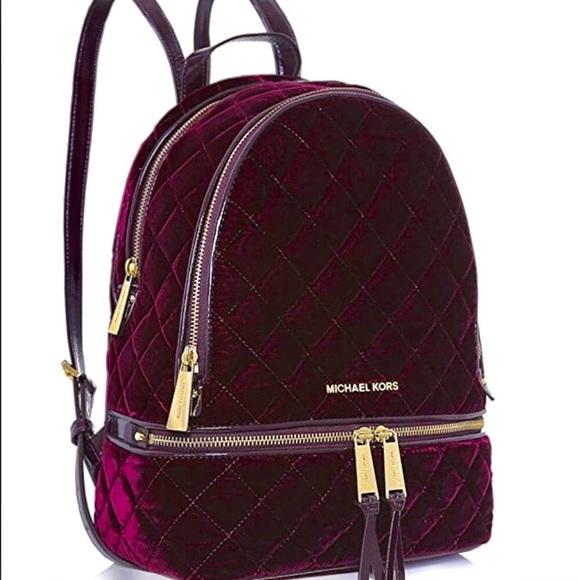 5fe6095d57a9 Michael Kors Bags | Flash Sale Plum Velvet Rhea Backpack | Poshmark