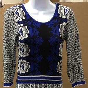 ECI intarsia 3/4 sleeves sweater dress.XS