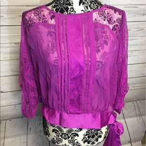 Women's Double Zero sheer and lace top size M